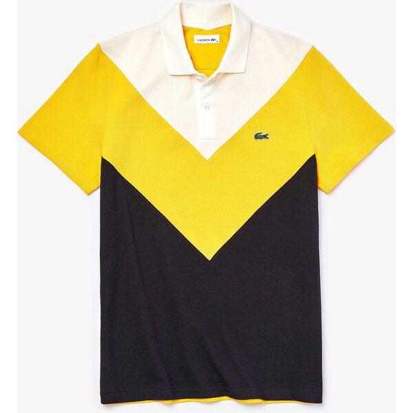 Men's Regular Fit Geometric Colorblock Piqué Polo, ABYSM/WASP-FLOUR, hi-res
