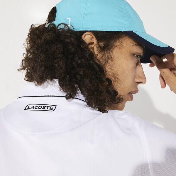 Unisex Tennis Ultra Dry Colour Block Polo, BLANC/HAITI-CITRON 05E-MARINE, hi-res