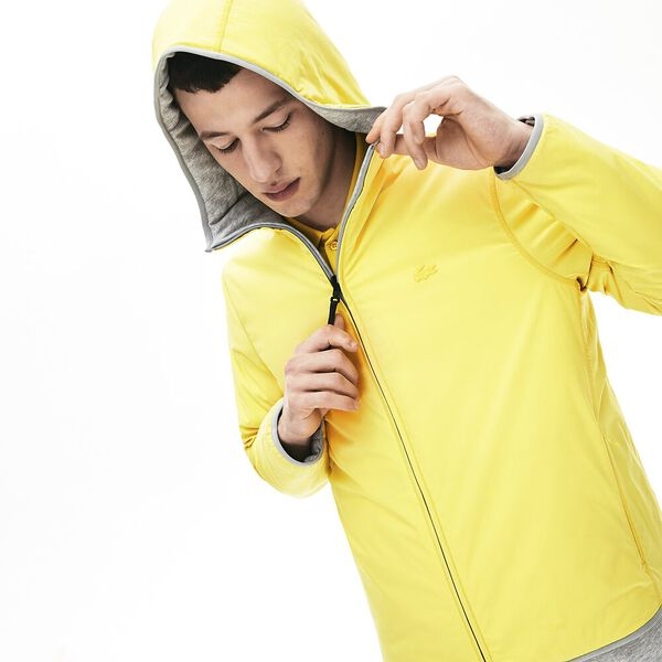 Men's Lacoste Motion Reversable Jacket, SILVER CHINE/MIDDAY YELLOW, hi-res