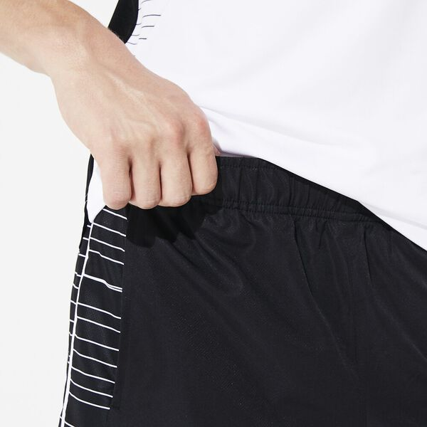 Men's Tennis Sport Short, BLACK/WHITE, hi-res