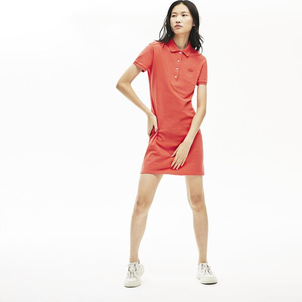 Women's Stretch Cotton Piqué Polo Dress, ENERGY RED, hi-res