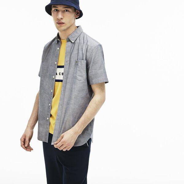 Men's Classic Short Sleeve Reg Fit Oxford Shirt, NAVY BLUE, hi-res