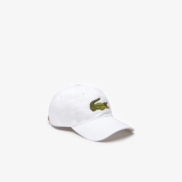 Men's Contrast Strap And Oversized Crocodile Cotton Cap, BLANC, hi-res
