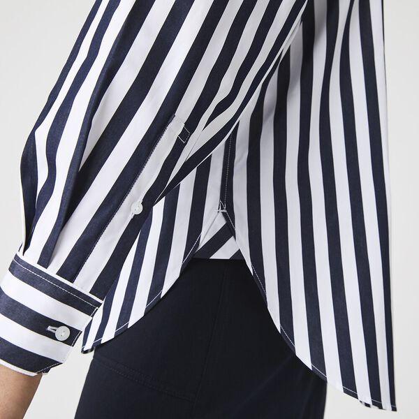 Women's Oversized Striped Poplin Shirt, NAVY BLUE/WHITE, hi-res