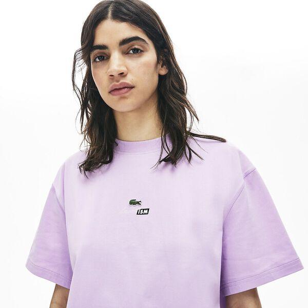 Women's Lacoste LIVE Lacostism Print Cotton T-shirt, PROVENCAL, hi-res