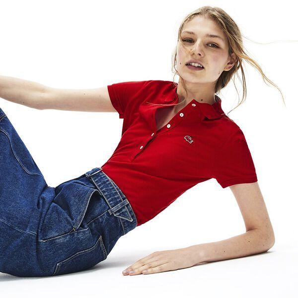 Women's 5 Button Slim Stretch Core Polo, RED, hi-res