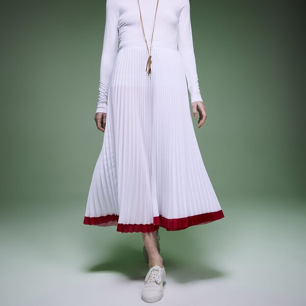 Women's Fashion Show Iconcis Pleated Skirt, WHITE/RED, hi-res