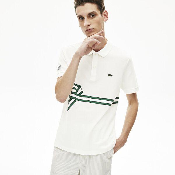 Men's Stripe Print Polo Shirt, FARINE, hi-res