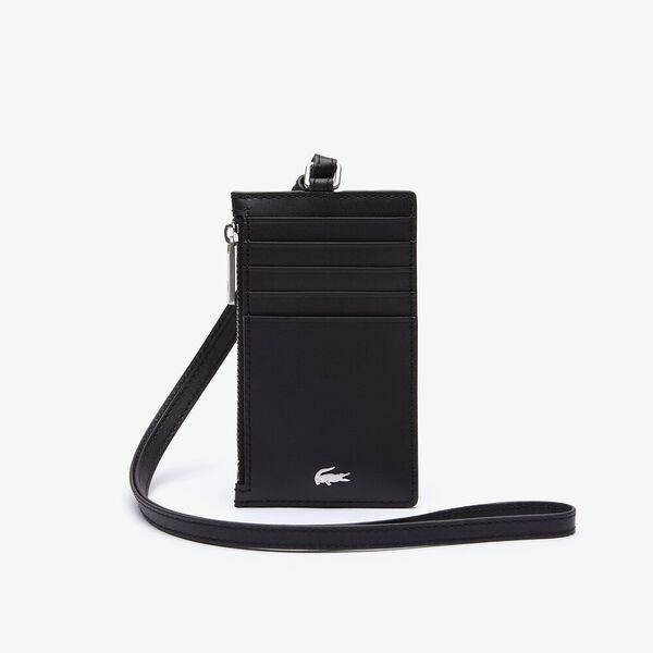Men's Fitzgerald Leather Neck Strap Zippered Card Holder, BLACK, hi-res