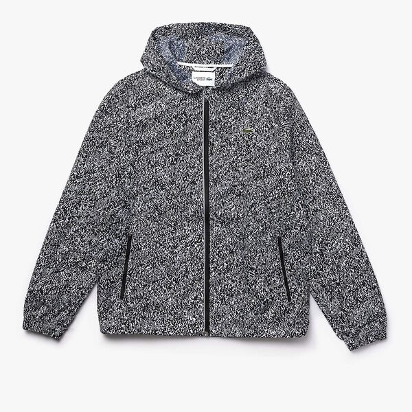 Men's Lacoste SPORT Hooded Print Zip Jacket, NOIR/BLANC, hi-res