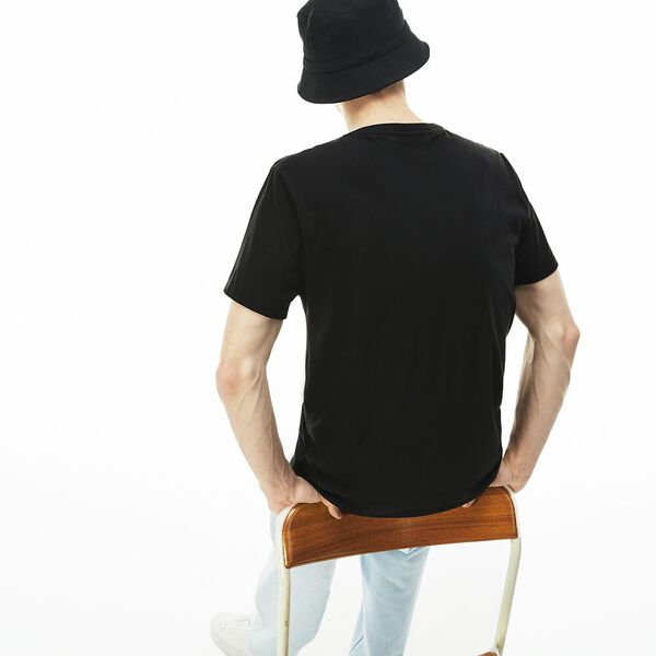 Men's Basic V Neck Pima Tee, BLACK, hi-res