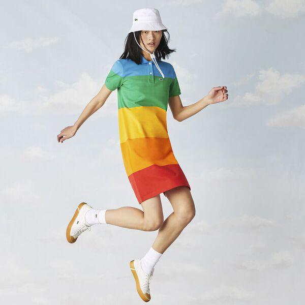 Women's Lacoste x Polaroid Striped Cotton Piqué Polo Dress, CORRIDA/ORPIMENT GYPSUM, hi-res
