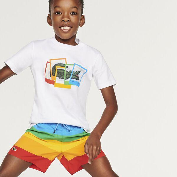 Boys' Lacoste x Polaroid Print Cotton T-shirt
