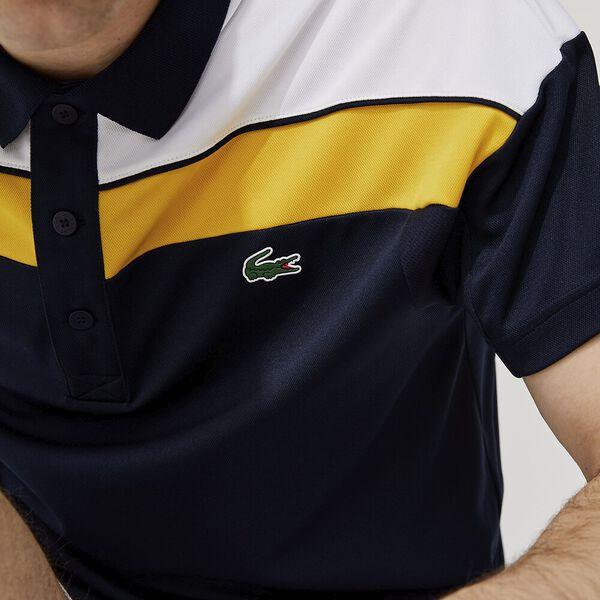 Men's SPORT Thermo-Regulating Piqué Polo, NAVY BLUE/WHITE-BROOM-NAV, hi-res