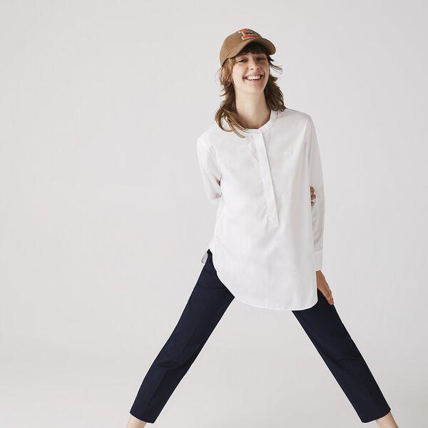Women's Mao Collar Loose Cotton Poplin Tunic, BLANC, hi-res
