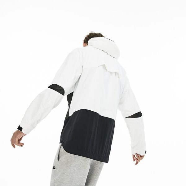 MEN'S PANELED WINDBREAKER, WHITE/BLACK, hi-res