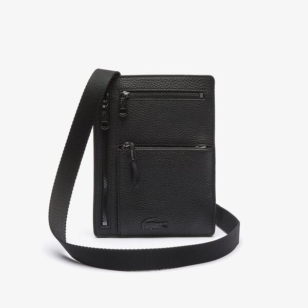 Men's Soft Mate Neck Strap Grained Leather Wallet Bag