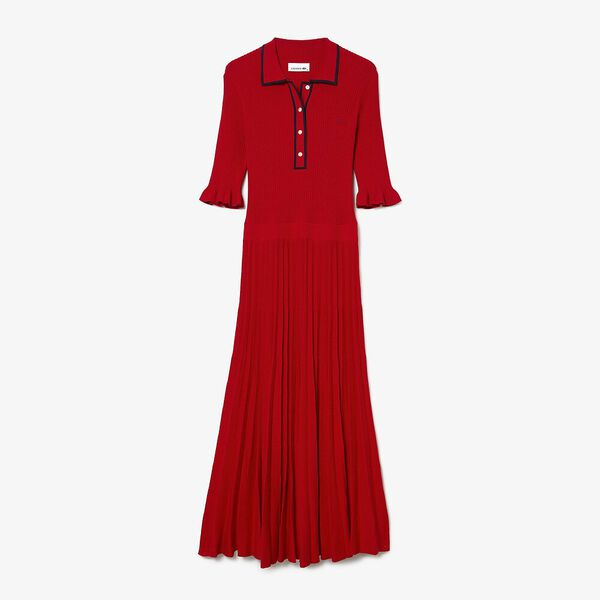 Women's Pleated Knit Polo Dress, RED/NAVY BLUE, hi-res