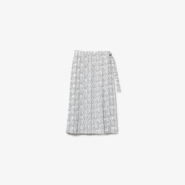 Women's Patterned Flowy Mid-Length Pleated Skirt, WHITE/ABYSM, hi-res