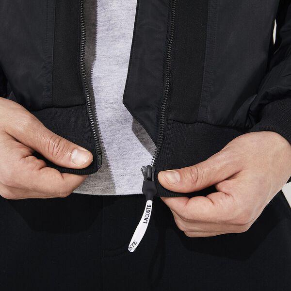 Men's Lacoste SPORT Bi-Material Water-Resistant Zip Jacket, NOIR, hi-res