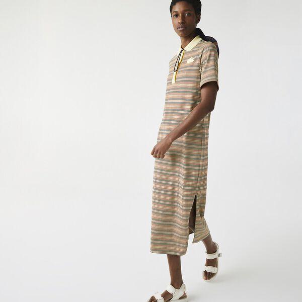 Women's LIVE Long Striped Cotton Polo Dress, BRIQUETTE/MULTICO, hi-res