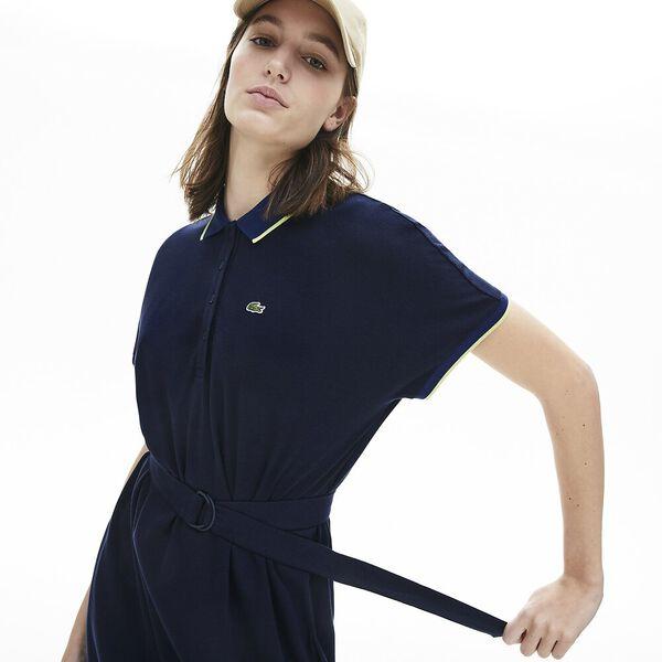 Women's Kimono-Sleeved Flowy Polo Dress, MARINE/METHYLENE-SUBAL, hi-res