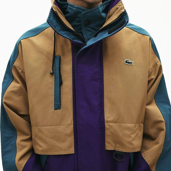 Men's Lacoste LIVE '90s Style Colourblock Parka, LEAFY/TANZANITE-PIN, hi-res