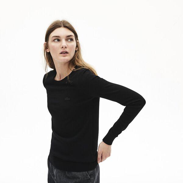 Women's Classic Wool Crew Neck Knit, BLACK, hi-res