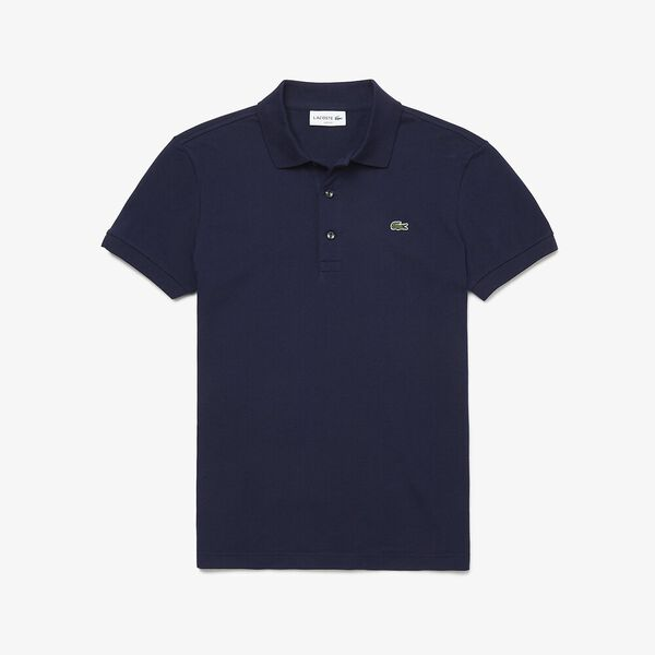 Men's Lacoste Stretch Mini Cotton Piqué Slim Fit Polo, NAVY BLUE, hi-res