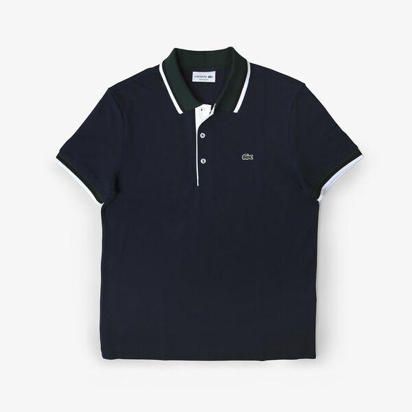 Men's Lacoste Cotton Piqué Tricolor Details Regular Fit Polo, NAVY BLUE/SINOPLE-WHITE-B, hi-res
