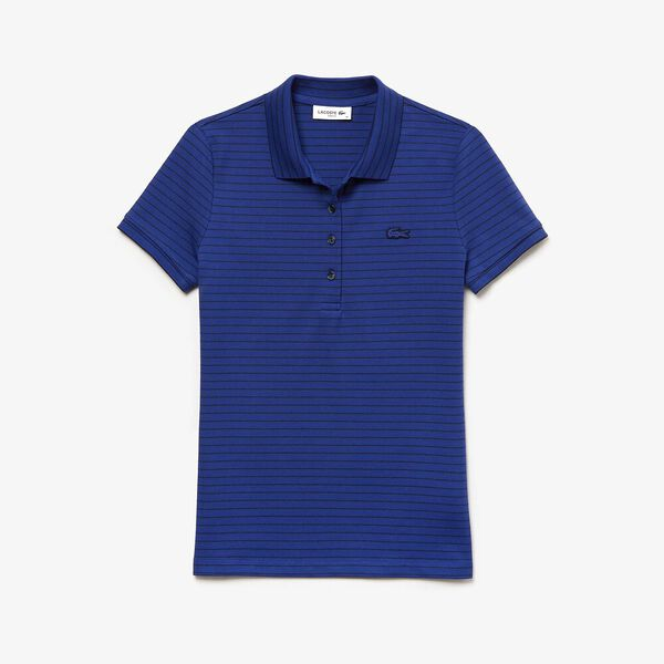 WOMEN'S STRIPED POLO, CAPTAIN/NAVY BLUE, hi-res