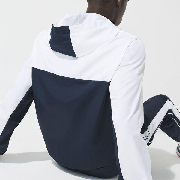 Men's SPORT Hooded Colorblock Zip Jacket, WHITE/NAVY BLUE-WHITE, hi-res