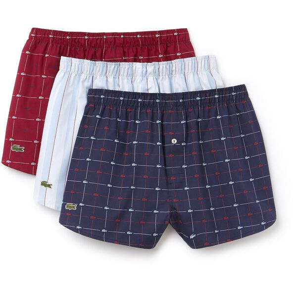 MEN'S 3 PACK WOVEN BOXERS, WHITE/RED/BLUE, hi-res