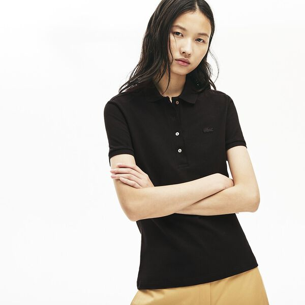 Women's Lacoste Stretch Cotton Piqué Polo Shirt, NOIR, hi-res