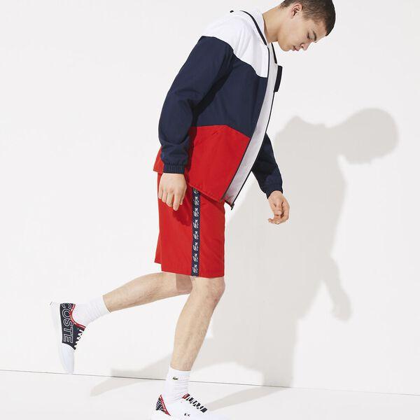 Men's Side Taping Tennis Short, RED/NAVY BLUE, hi-res