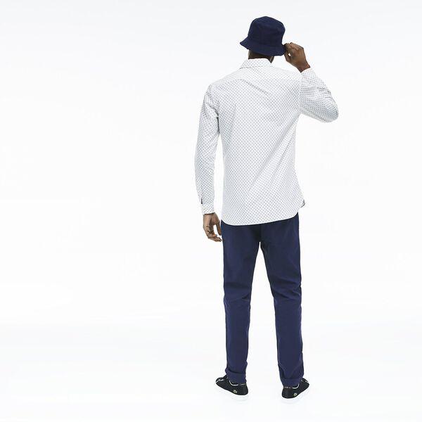 MEN'S PRINTED POPLIN SHIRT, WHITE/NAVY BLUE, hi-res