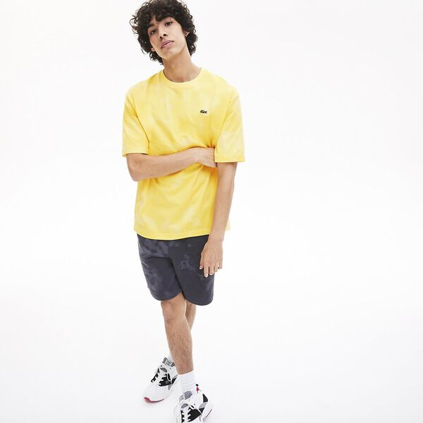 Men's Lacoste LIVE Marble Effect Cotton Crew Neck T-shirt, CLUSI/JAUNE, hi-res