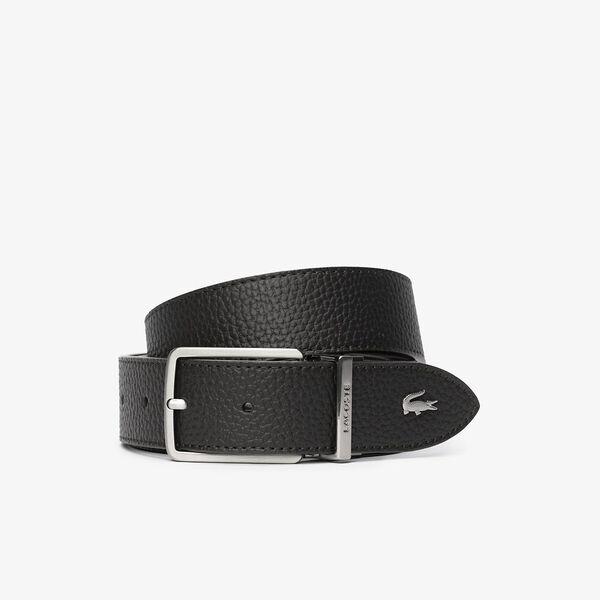 Men's Engraved Buckle Grained Leather Belt
