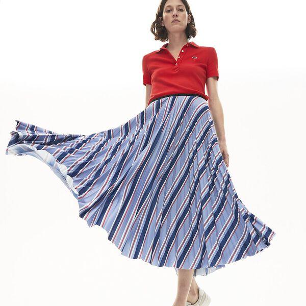 Women's Multicolour Striped Pleated Skirt