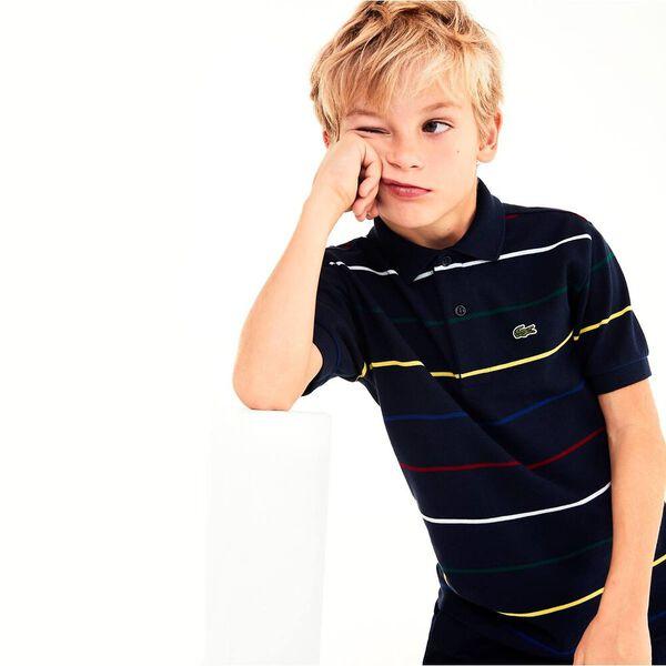 Boy's Multico Stripe Mini Pique Polo, NAVY BLUE/MULTICOLOUR, hi-res