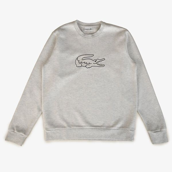 Men's Cotton Jersey Crocodile Patch Crew Neck Sweatshirt
