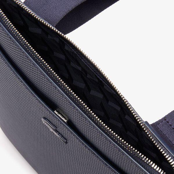Men's Chantaco Matte Piqué Leather Flat Zip Bag, MARINE, hi-res