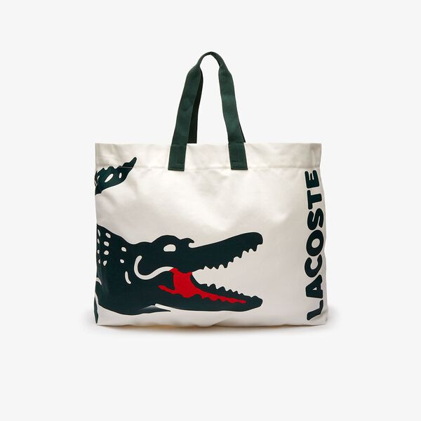 Women's Oversized Crocodile Print Cotton Large Tote