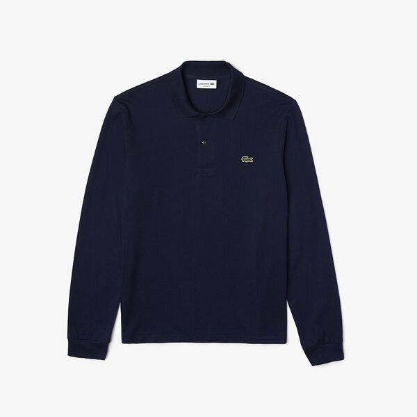 MEN'S CLASSIC FIT LONG-SLEEVE POLO, NAVY BLUE, hi-res