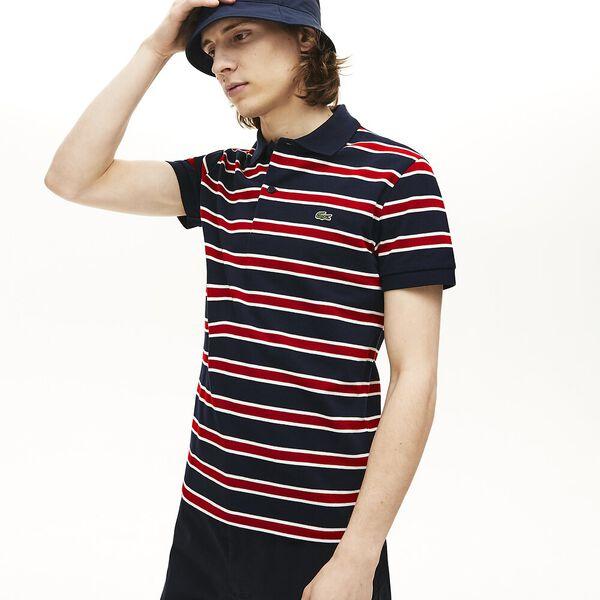 Men's Striped Slim Fit Stretch Polo, NAVY BLUE/WHITE-ALIZARIN, hi-res