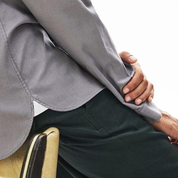 Men's Ls Slim Fit Jacquard Dot Shirt, NIMBUS, hi-res