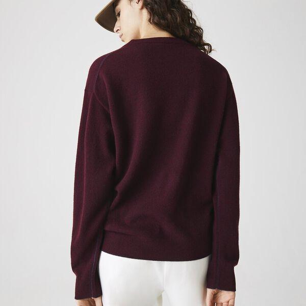 Women's Crew Neck Wool Sweater, WINE CHINE, hi-res