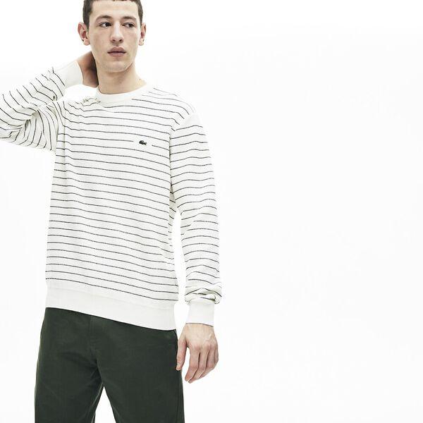 Men's Striped Textured Cotton Sweater, FARINE/NOIR, hi-res