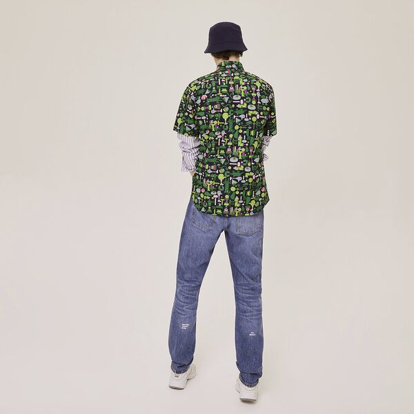 Men's Jeremyville Short Sleeve All Over Print Shirt, NAVY BLUE/MULTICOLOUR, hi-res