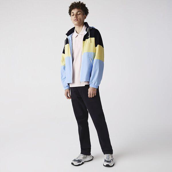 Men's Concealed Hood Water-Resistant Colorblock Jacket, NAVY BLUE/YELLOW-OVERVIEW, hi-res